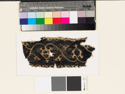 Textile fragment with scrolling stems, leaves, and palmettesfront