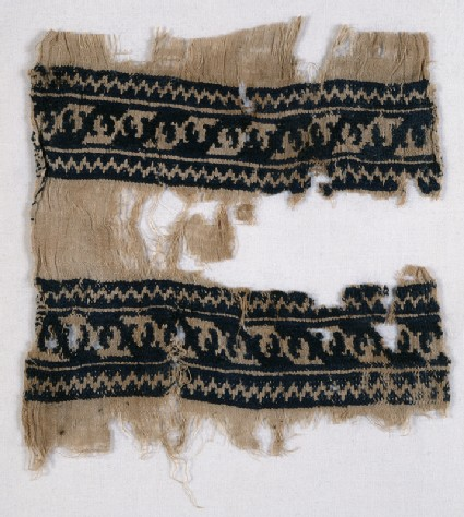 Textile from a scarf or girdle with leaves and chevronsfront