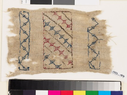Textile fragment with steps, florets, and chevronsfront