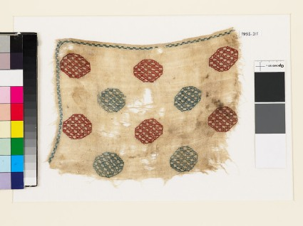 Textile fragment with octagons and squaresfront