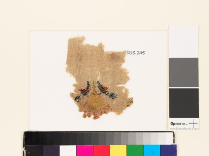 Textile fragment with pair of birdsfront