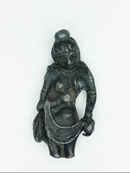 Nude female figure holding a drapefront