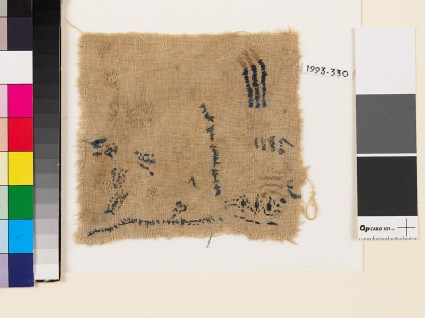 Textile fragment with chevrons and irregular linesfront