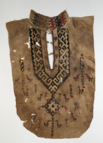 Part of a tunic front with geometric pattern and birdsfront