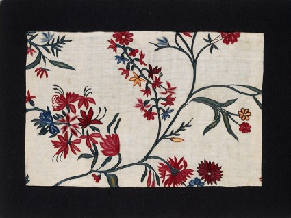 Textile fragment with flowering branches or frondsfront