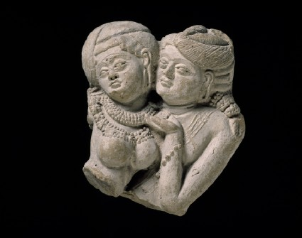 Plaque fragment with pair of lovers (mithuna)front