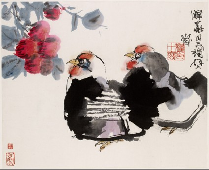Two hens and flowersfront