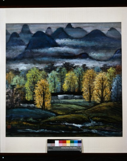 Landscape with trees and mountainsfront