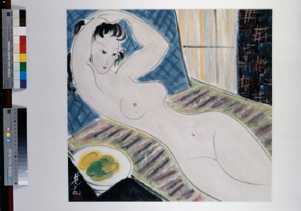 Nude reclining next to a fruit bowlfront