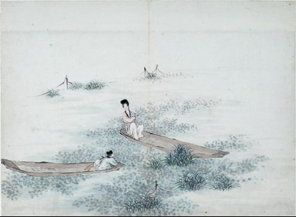 Two figures seated in two boatsfront