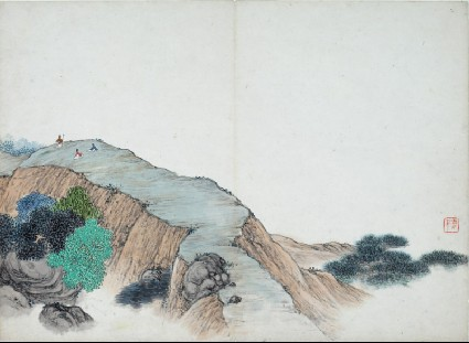 Three figures on a mountain ridgefront