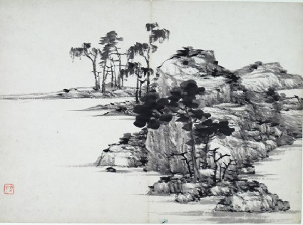 Landscape with rocks and treesfront