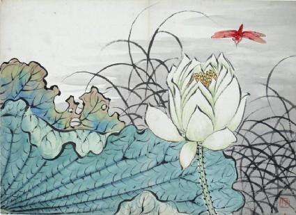 Lotus flower and dragonflyfront