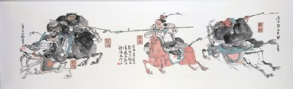 Three Heroes Fighting Lü Bu at Hulaoguanfront