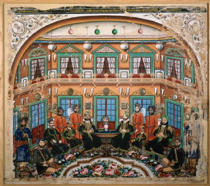 Rajput noblemen in an interiorfront