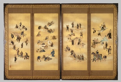 Screen depicting the four classes of Edo Japanfront, Cat. No. 45