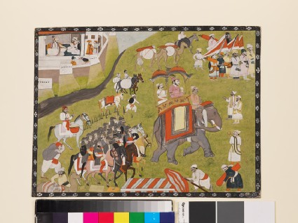 Procession of a Raja on elephant with armed escort and retainersfront