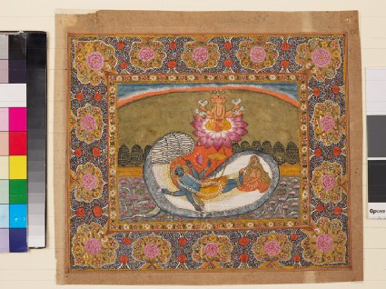 Vishnu and Lakshmi on the serpent Shesha, with Brahma on the lotusfront