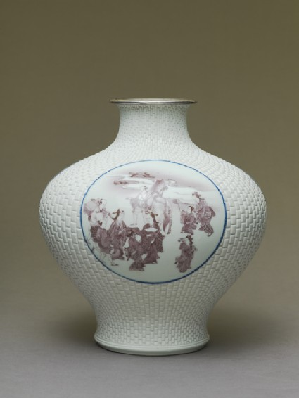 Baluster vase with cartouches depicting Mount Fuji, samurai, and chickensside
