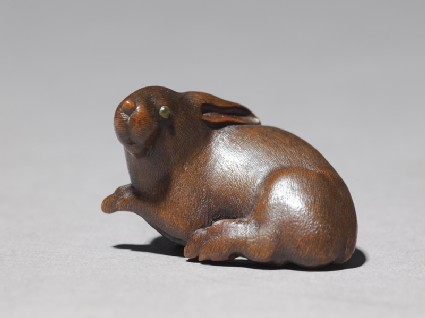 Netsuke in the form of a rabbitside