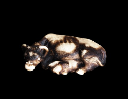 Netsuke in the form of a buffalo and calfside