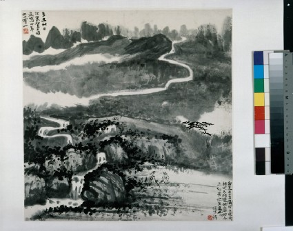 Landscape with a river and treesfront, painting