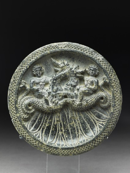 Palette with Nereids, or sea nymphs, riding ketoi, or sea monstersfront