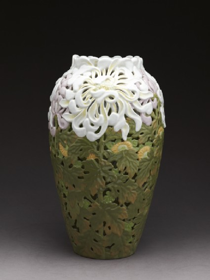 Art Nouveau style vase with chrysanthemumsside