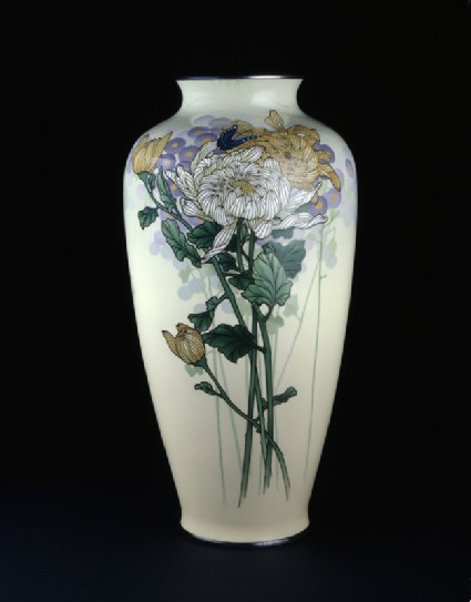 Baluster vase with chrysanthemums and a butterflyside