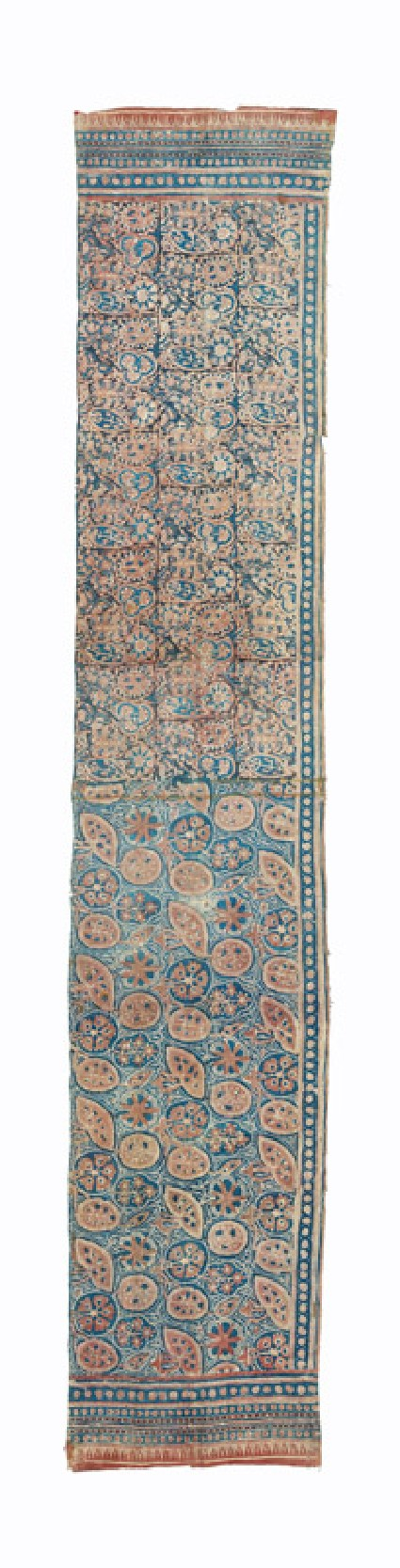 Textile fragment with leaves and flowersfront