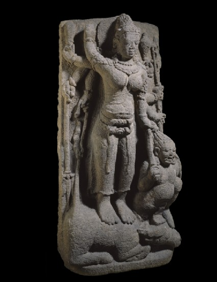 Figure of eight-armed Durga slaying the Buffalo-demonoblique