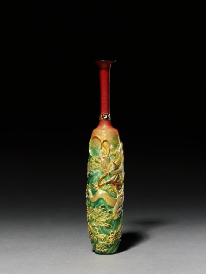 Vase with dragon amid wavesside