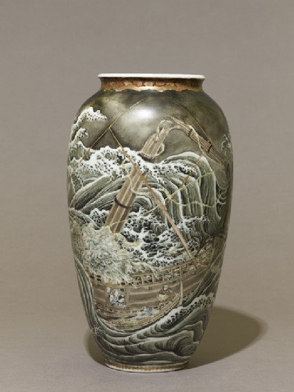 Vase depicting a ship in a stormy seaside