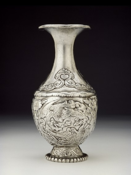 Silver vase with pairs of phoenixesside