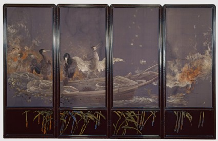 Screen with cormorants fishing at nightfront, Cat. No. 18