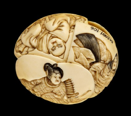 Ryūsa-style netsuke depicting the rokkasen, or six immortal poetsfront
