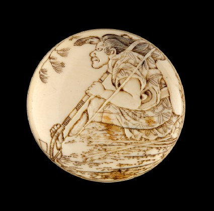 Manjū netsuke depicting Tametomo on Onigashima Island waiting for his Taira enemiesfront