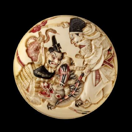 Manjū netsuke depicting Minamoto no Yorimasa and Ii no Hayata slaying the nue, a mythical creaturefront