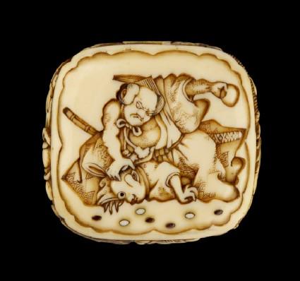 Ryūsa-style netsuke depicting a retainer of Minamoto no Yorimitsu slaying a goblinfront