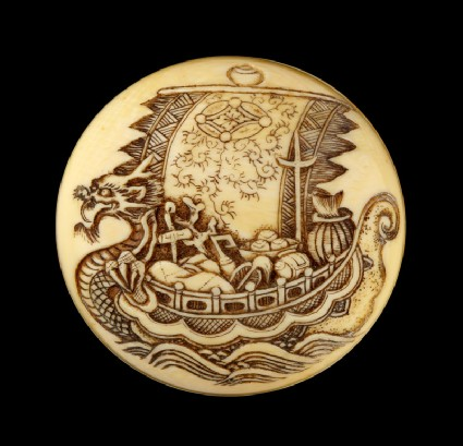 Manjū netsuke with a takarabune, or treasure shipdetail