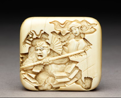 Manjū netsuke depicting Benkei leaping over the warrior Minamoto Yoshitsunefront