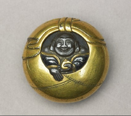 Manjū netsuke depicting Hotei peering from his sackfront