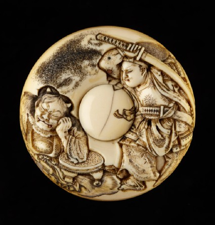 Manjū netsuke depicting Minamoto no Yorimitsu killing the demon Shuten dōjifront