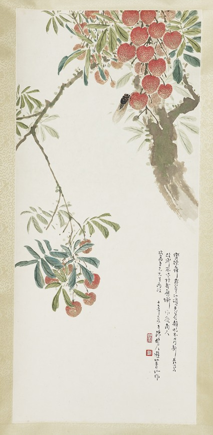 Lychees and cicadafront, painting only