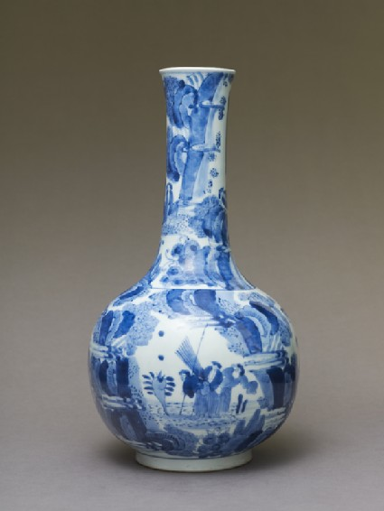 Bottle in the Chinese 'transitional style' with figures in a landscapeside