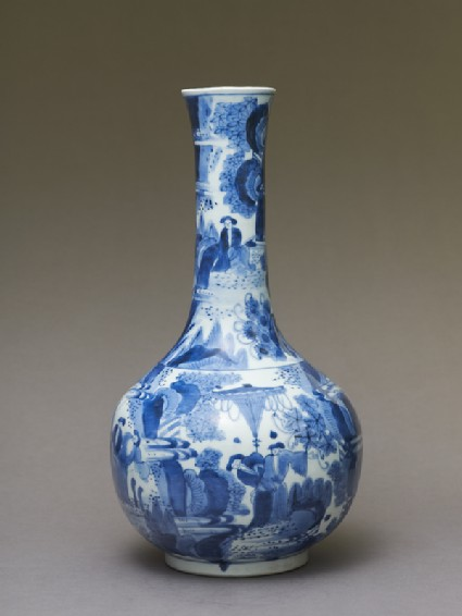 Bottle in the Chinese 'transitional style' with figures and bottle-brush treesside