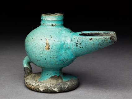 Oil lamp with turquoise glazeoblique