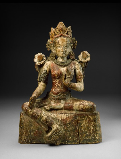 Seated figure of Tara wearing a foliate crownfront