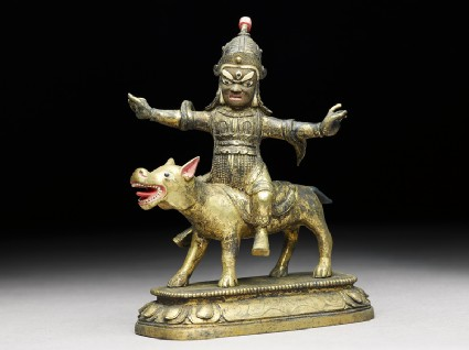 Figure of Las Mkhan damar po, acolyte of Beg-tse god of war, on a wolfside