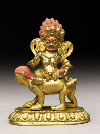 Figure of a male deity seated on a human-faced animalside